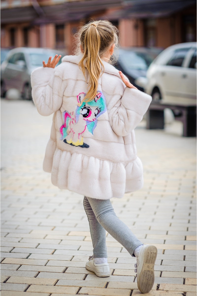 Kids fur coat 03-05-005-peach