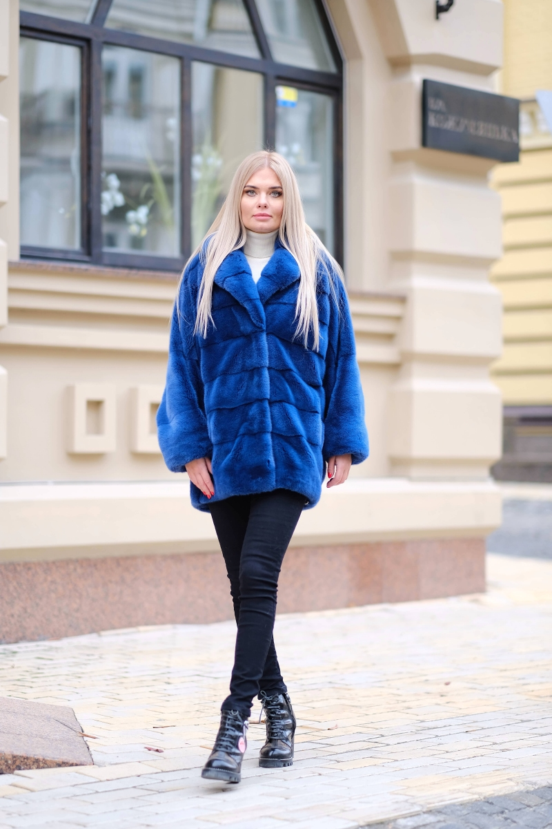Fur coat 01-05-623-Snorkel blue