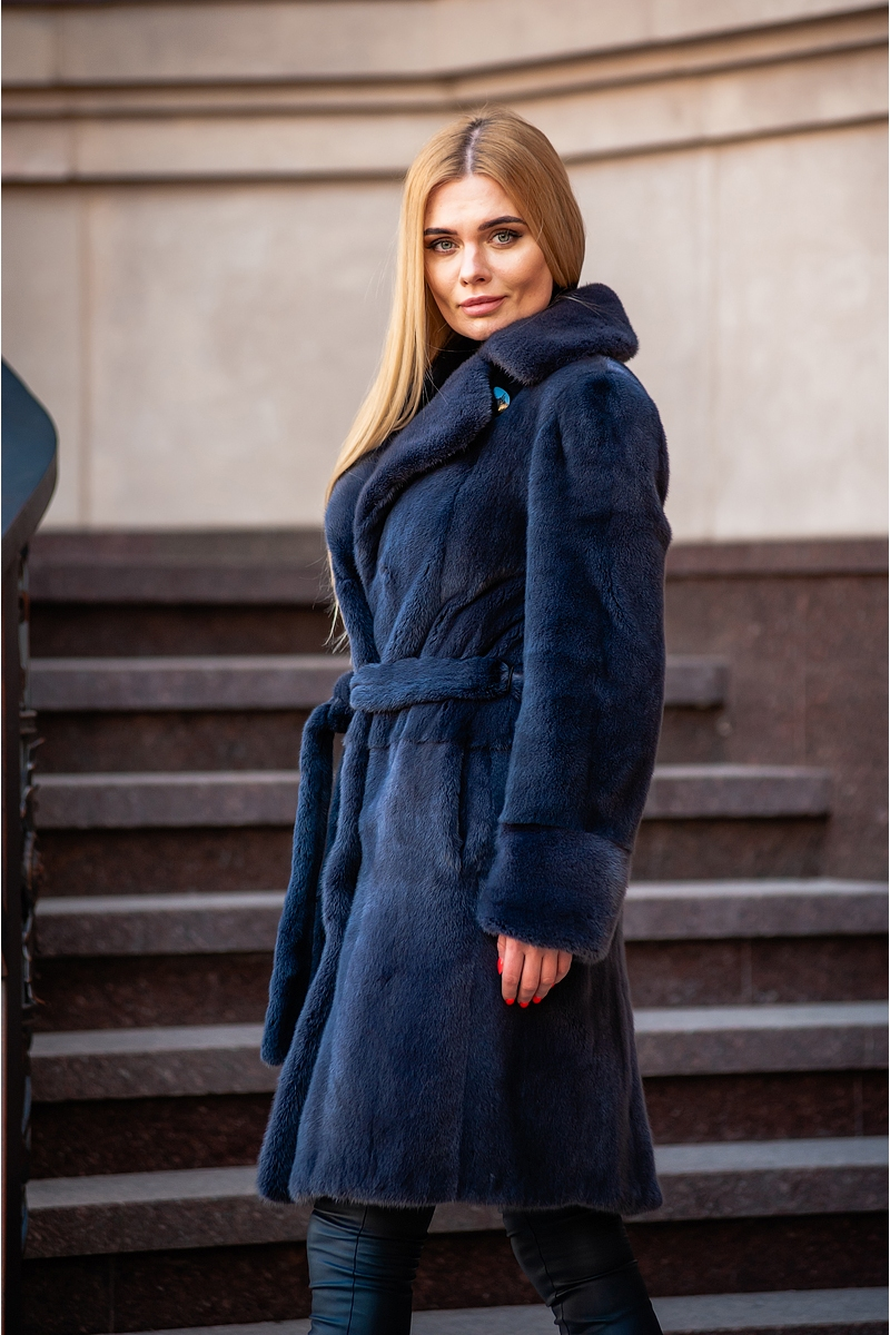 Fur coat 01-05-563- dark grey